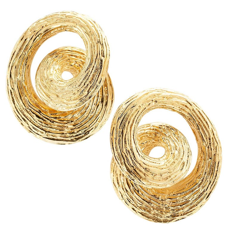 1960s Gold Knot Ear Clips For Sale