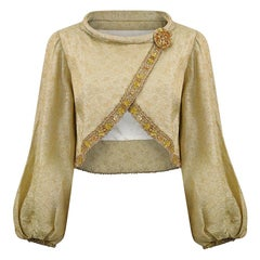 1960s Gold Lamé Jacket With Beaded Trim and Bishops Sleeves