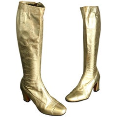 1960s Gold Leather Size 6 N Knee High Vintage 60s Mod Retro Go-Go Boots Shoes