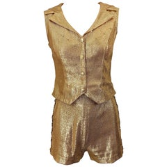 1960s Gold Lurex Sequined Marching Band Vintage Sequined 60s Shorts and Shirt