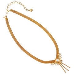 1960s Gold Mesh Choker Necklace With Faux Pearl & Tassel By Lisa Jewels Co