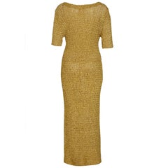 1960s Gold Ochre Ribbon Work Wiggle Dress With Bow Detail