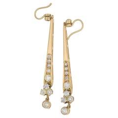 1960s Gold Old Cut Diamond Long Drop Earrings