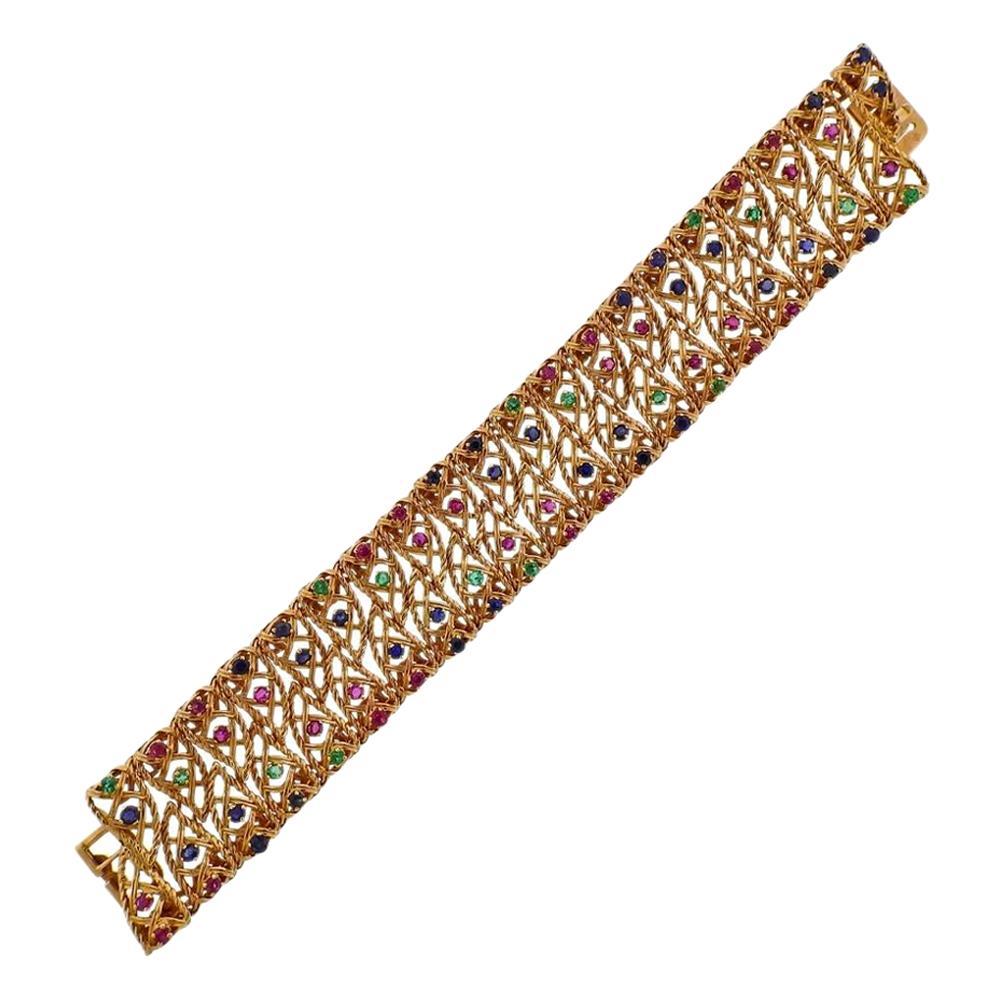 1960s Gold Ruby Sapphire Emerald Wide Bracelet