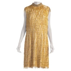 1960'S Gold & Ivory Rayon Silk Fully Beaded Fringe Mod Cocktail Dress