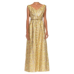 1960S Gold & Silver Lamé Swirl Pattern Gown With Jeweled Buttons And Belt