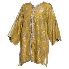 1960S Gold & Silver Metallic Rayon Lurex Damask Kaftan Tunic Jacket With Hand S