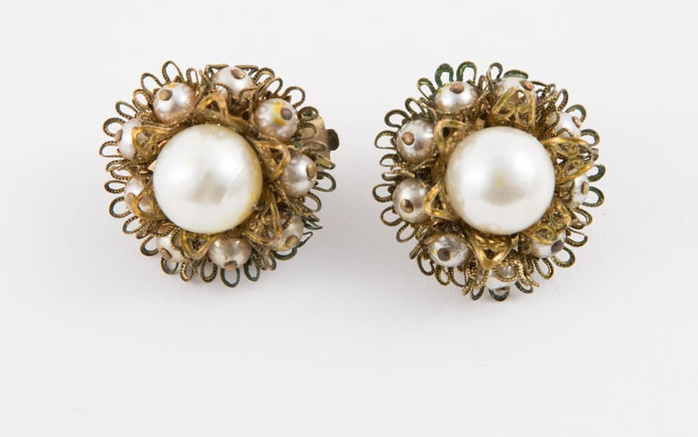 Women's 1960s Gold Tone and Faux Pearl Clip on Earrings For Sale