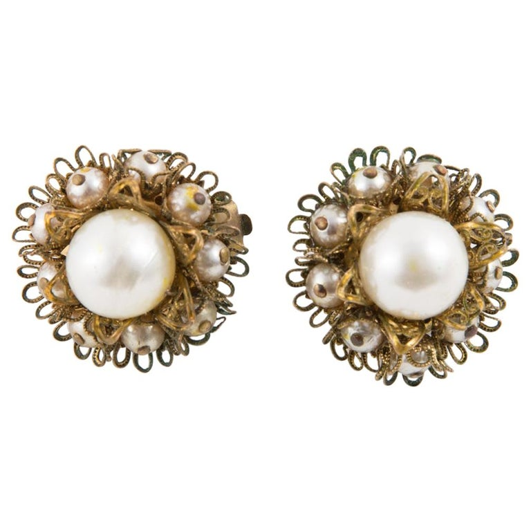 1960s Gold Tone and Faux Pearl Clip on Earrings For Sale