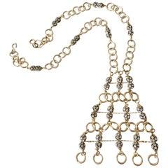 1960s Gold Toned Aluminum Rhinestone Disco Statement Necklace