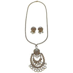 1960s Gold with Rhinstones & Crystals Pendent Necklace and Earring Set