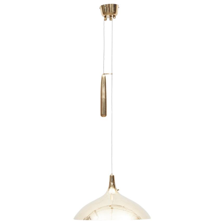 1960s Golden Brass Ceiling Lamp by Paavo Tynell 'b'