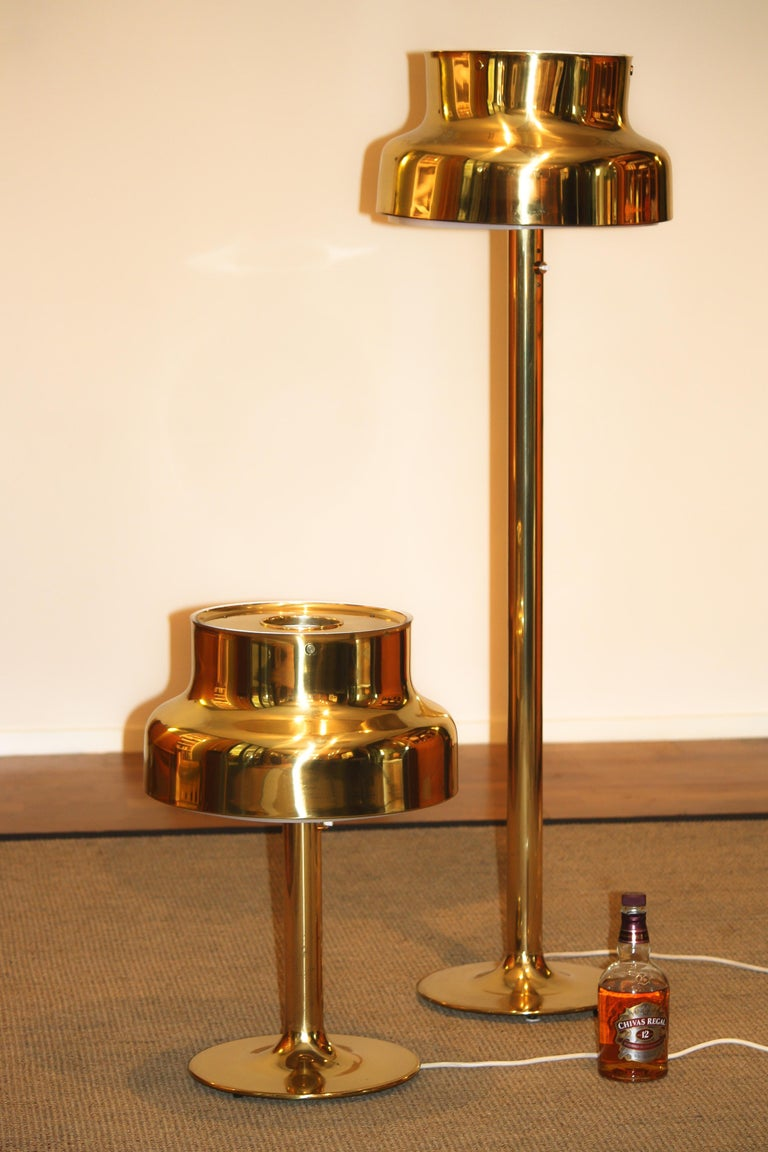 Mid-Century Modern 1960s, Golden/Brass Floor and Table Lamp by Anders Pehrson