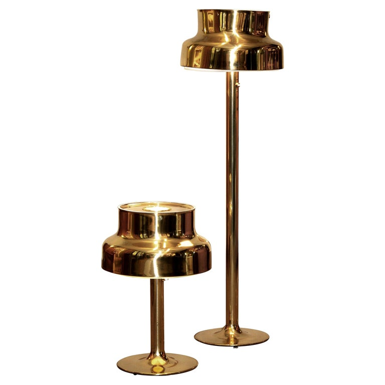 "1960s, Golden/Brass Floor and Table Lamp by Anders Pehrson ""Bumling"", Lyktan For Sale"
