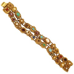 1960s Goldette Victorian Revival Double Row Slider Charm Bracelet, Signed