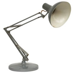 1960s Gray Articulated Industrial Desk Lamp by Luxo Lamp Corp