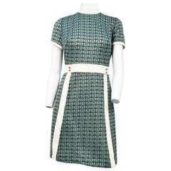 1960s Green and White Butterfly Knit Dress