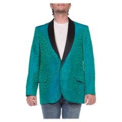 1960S Green & Blue Silk Jacket With Taffeta Shawl Collar