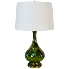 1960s Green Drip Glaze Table Lamp