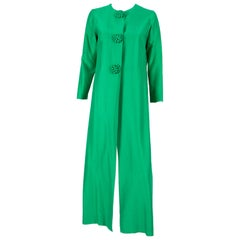 1960s Green Evening Silk Maxi Long Coat