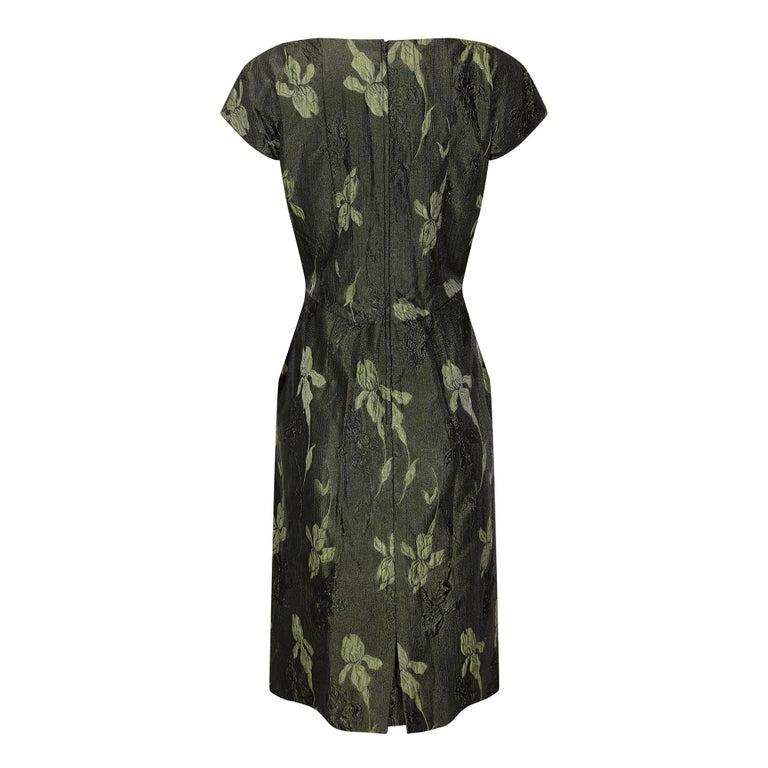 Black 1960s Green Floral Metallic Brocade Dress For Sale