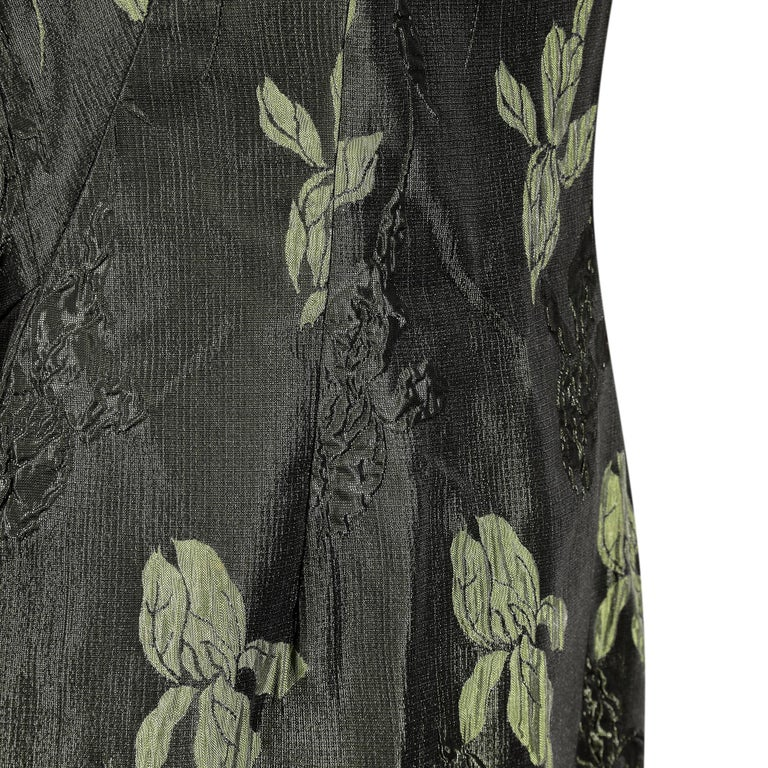 1960s Green Floral Metallic Brocade Dress In Good Condition For Sale In London, GB