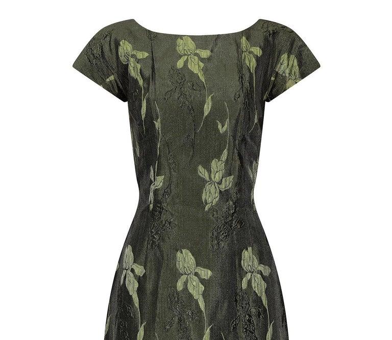 Women's 1960s Green Floral Metallic Brocade Dress For Sale