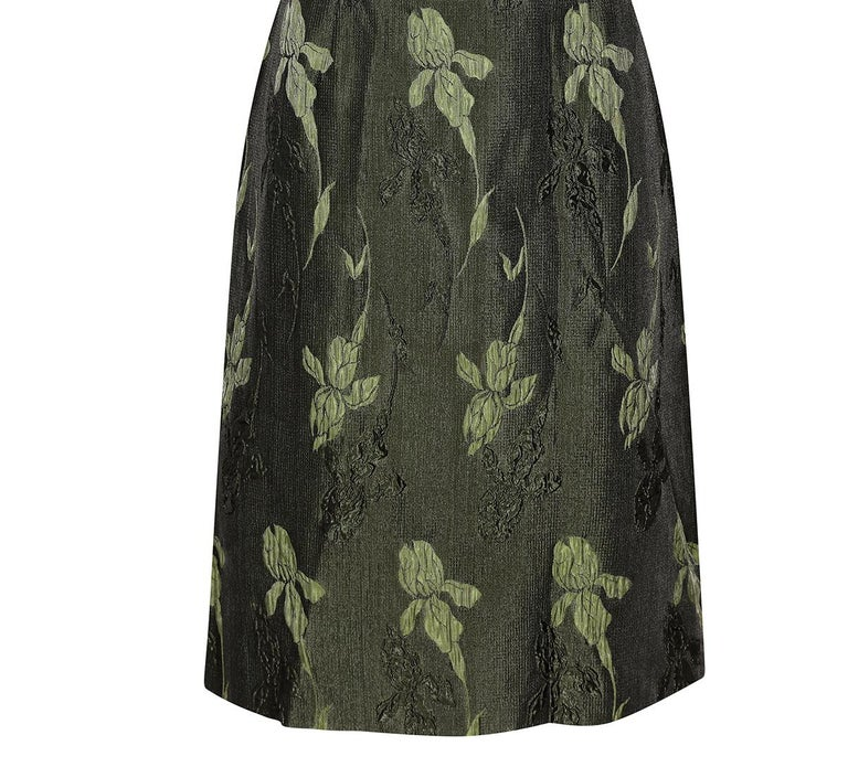 1960s Green Floral Metallic Brocade Dress For Sale 1