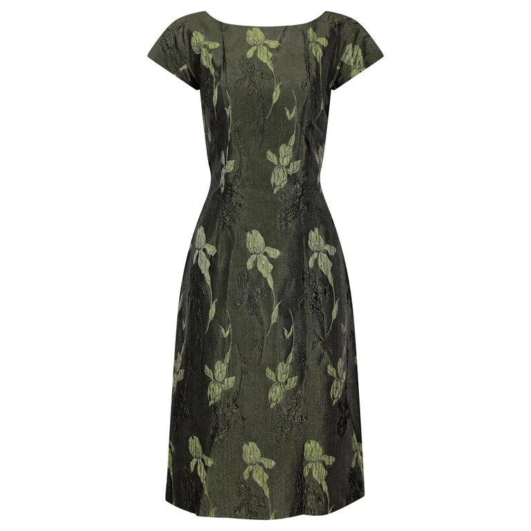 1960s Green Floral Metallic Brocade Dress For Sale