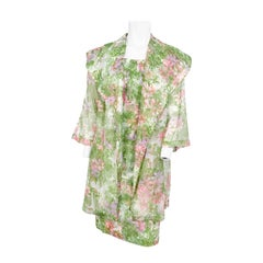 1960s Green Floral Printed Dress and Coat Set
