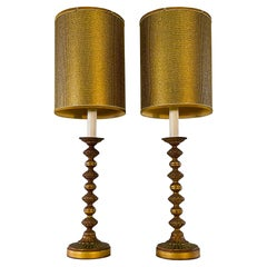 1960s Green & Gold Metal Tall Table Lamps with Shades, Pair