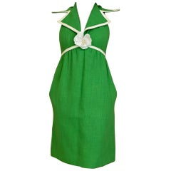 1960s Green Linen Cocktail Dress