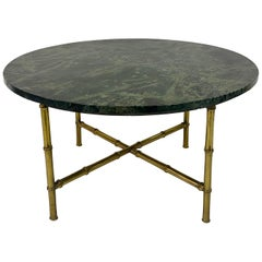 1960s Green Marble and Brass Faux Bamboo Coffee Table