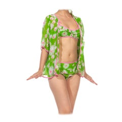 1960S Green & Pink Cotton Daisy Mod Print Play Suit Ensemble With Jacket
