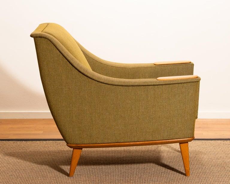 1960s, Green Upholstered Oak Lounge Chair by Folke Ohlsson for DUX, Sweden F 5