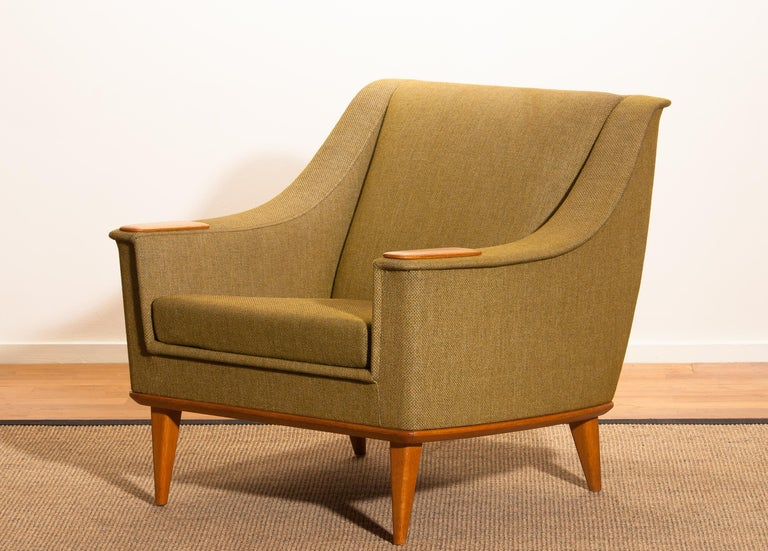 Mid-20th Century 1960s, Green Upholstered Oak Lounge Chair by Folke Ohlsson for DUX, Sweden F