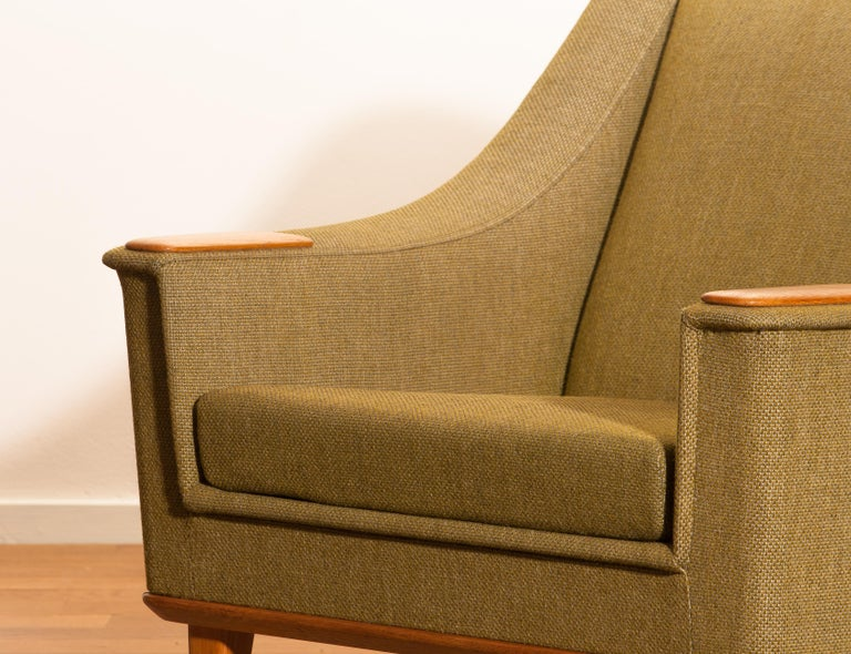 Fabric 1960s, Green Upholstered Oak Lounge Chair by Folke Ohlsson for DUX, Sweden F