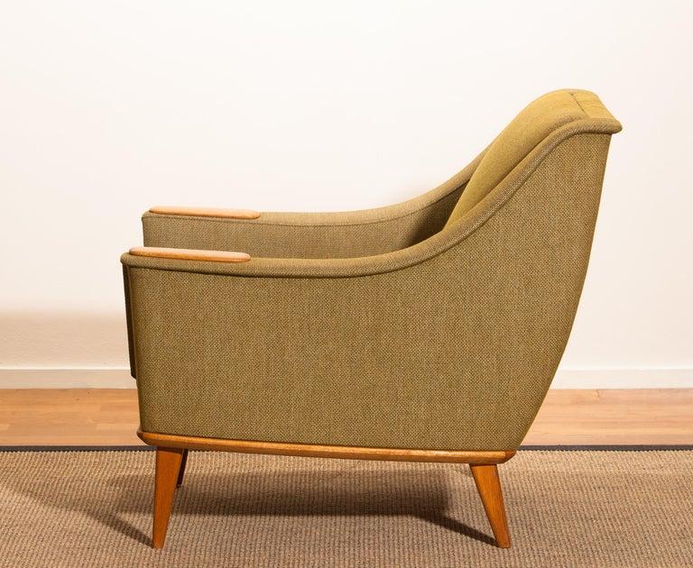 1960s, Green Upholstered Oak Lounge Chair by Folke Ohlsson for DUX, Sweden F 1