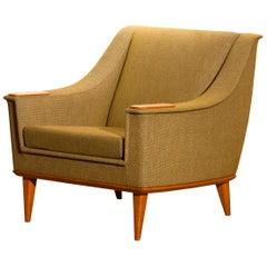 1960s, Green Upholstered Oak Lounge / Easy Chair, Folke Ohlsson for DUX, Sweden