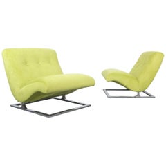 1960s Green Velvet and Chrome Scoop Lounge Chairs, Pair