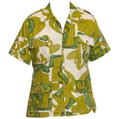 1960S Green & White Cotton Mens Tropical Safari Shirt Made In Hawaii