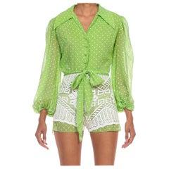 1960S Green & White Cotton Polka Dot Lace Skirt Romper