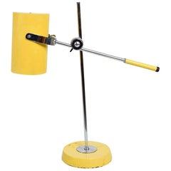 1960s Greta Grossman Style Snappy Yellow & Chrome Adjustable Table Desk Lamp