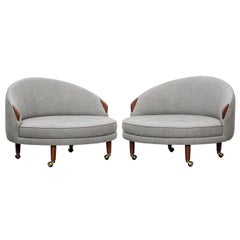 1960s Grey Fabric on Wooden Legs Pair of Lounge Chairs by Adrian Pearsall