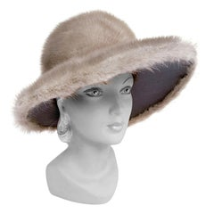 1960s Grey Ranch Mink Wide Brimmed High Fashion Hat