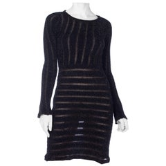 1980S MARTINE SITBON Dark Grey Metallic Poly Blend Knit Dress