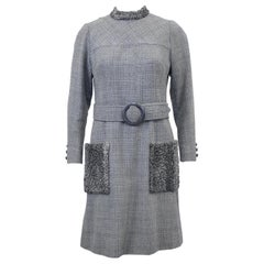1960s Grey Wool Weave Shift Dress with Persian Lamb Details