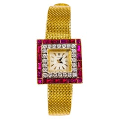 1960s Gubelin 18 Karat Yellow Gold Double-Row Diamond & Ruby Set Bracelet Watch