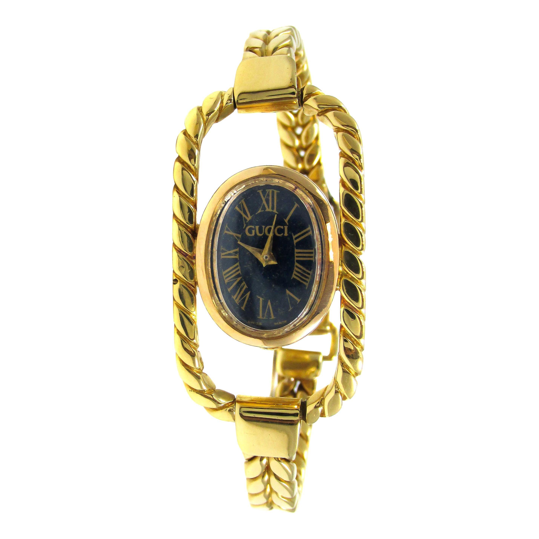 1960s Gucci 18 Karat Yellow Gold Lapis Bracelet Watch