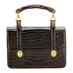 1960s Gucci Bamboo Chocolate Handbag